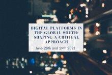 Visuel des deux demi-journées d'étude Plateformes dans les Suds : Quelles pistes pour une approche critique ?
